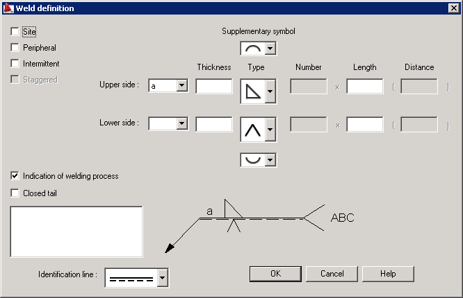 Inserting weld symbols into drawings autocad structural detailing the program prompts you to specify if you select a weld from a model or create it manually in a drawing then the dialog as shown in the image below malvernweather Gallery