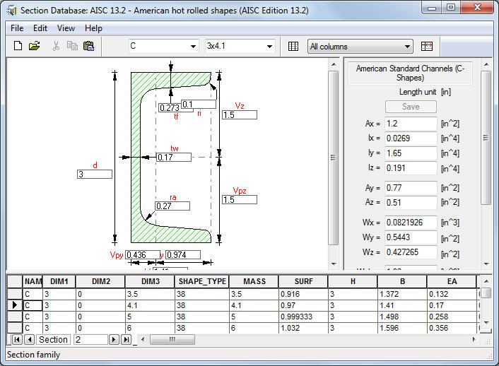 bar section database robot structural analysis products autodesk