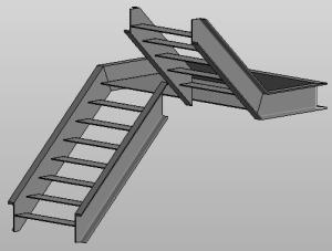 Zusammengebaute Treppe Stahltreppe Nicht Massiver Treppenlauf Und Massives Podest