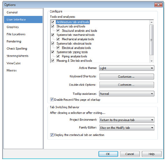 To Set the User Interface for Architecture, Structure, or