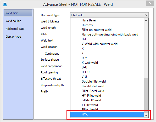 Create A Combined Weld Symbol Advance Steel 2016 Autodesk