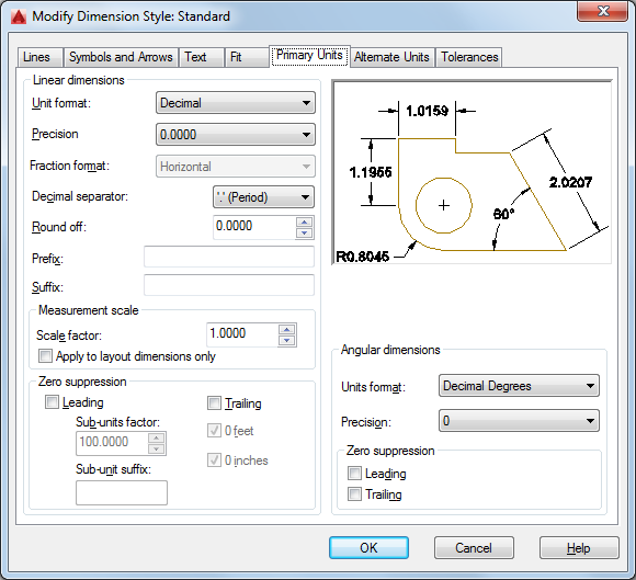 Primary Units Tab Dimension Style Manager Autocad Autodesk