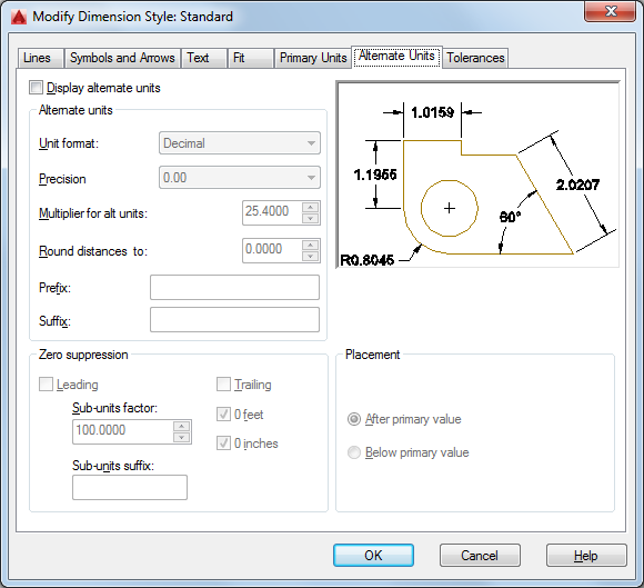 Alternate Units Tab Dimension Style Manager Autocad 2016