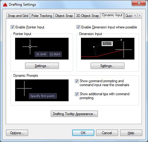 Dynamic Input Tab (Drafting Settings Dialog Box) | AutoCAD 2016