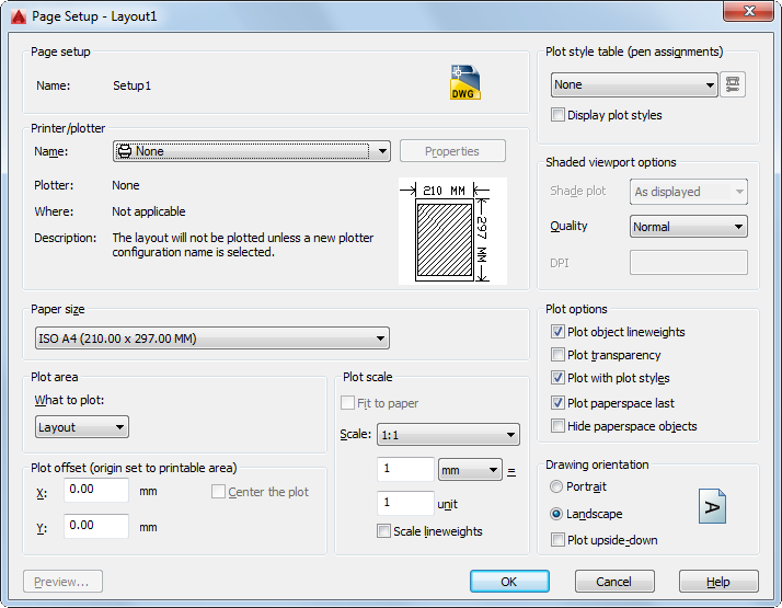 page setup dialog box autocad 2016 autodesk knowledge network