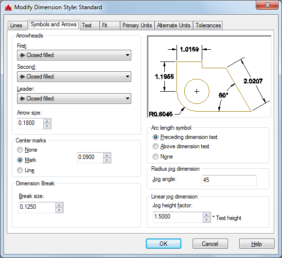 Symbols And Arrows Tab Dimension Style Manager Autocad 2016