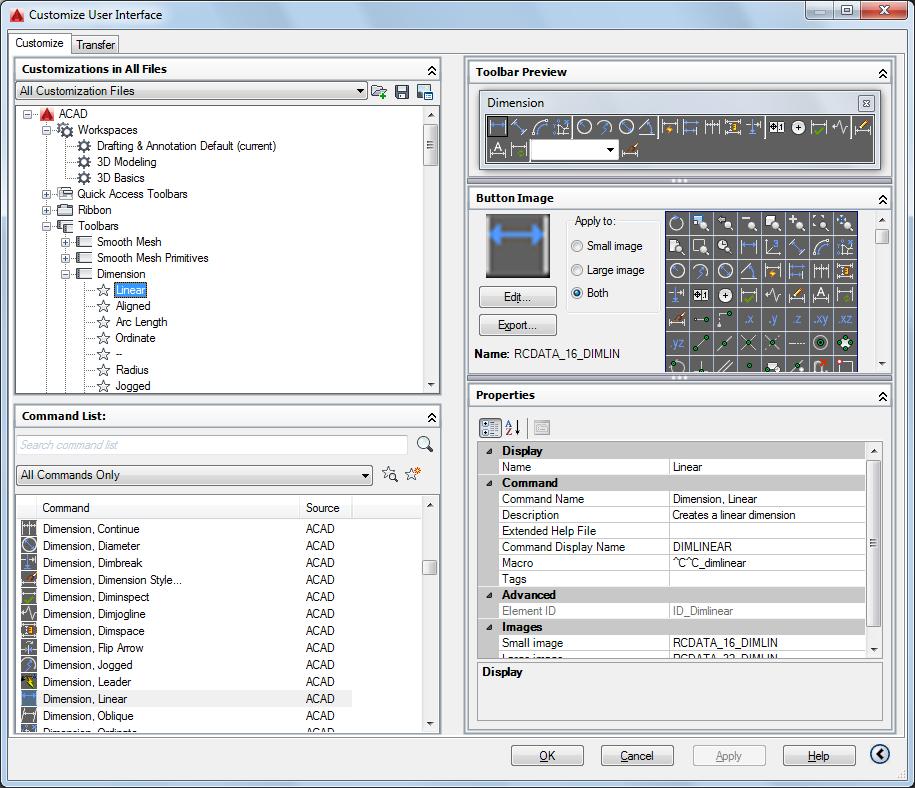 AutoCAD 2016 Help: Customize Tab (Customize User Interface Editor)
