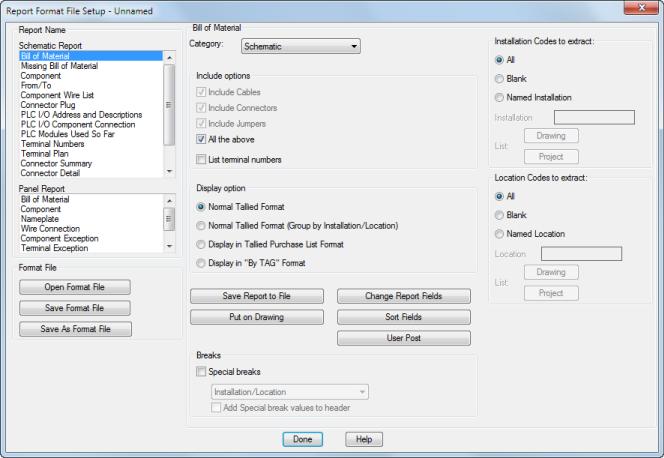 Report Format File Setup Dialog Box | AutoCAD Electrical