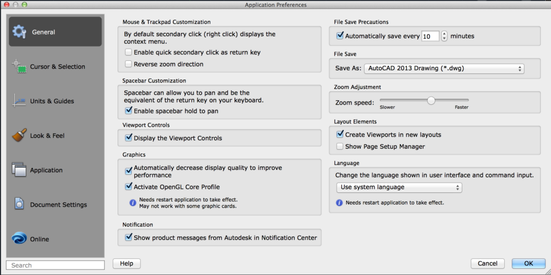AutoCAD 2016 for Mac Help: General Tab (Application