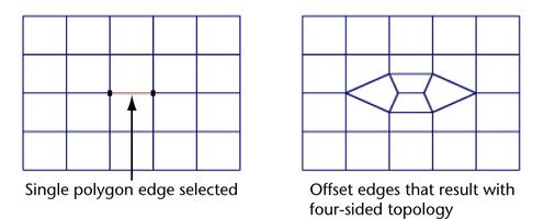 Maya Help: Offset a partial edge loop on a polygonal mesh