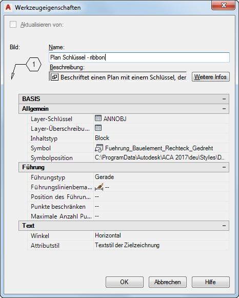 AutoCAD Architecture 2017 Hilfe: Bauelementlegenden
