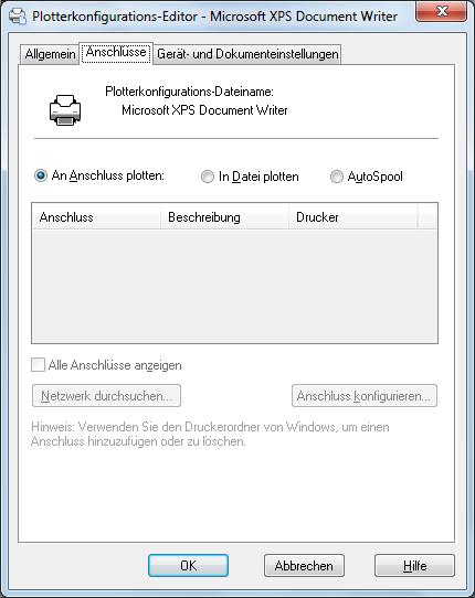 Anschlüsse, Registerkarte (Plotterkonfigurations-Editor) | AutoCAD ...