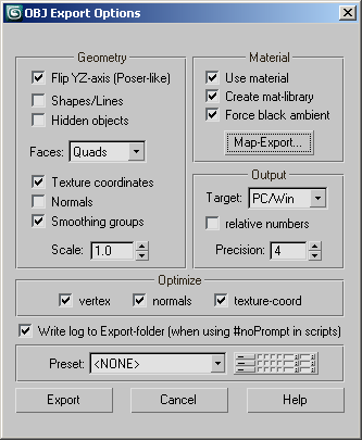 3ds Max 2017 Help: Wavefront Object (OBJ) Export Options Dialog