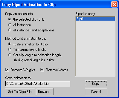 Copy Biped Animation to Clip Dialog | 3ds Max 2017