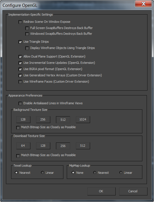 Configure OpenGL Dialog   3ds Max 2017   Autodesk Knowledge