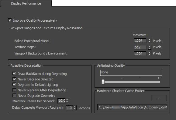 Display performance panel nitrous driver 3ds max autodesk interface malvernweather Choice Image