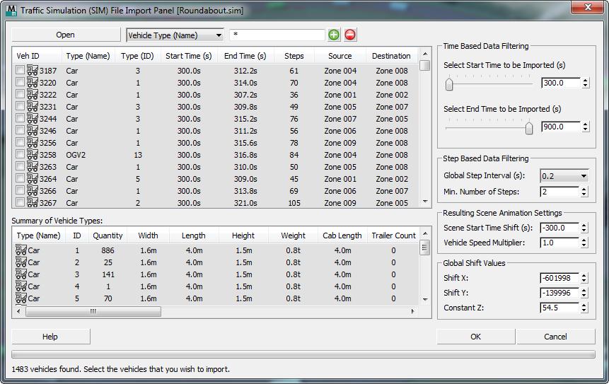 3ds Max 2017 Help Traffic Simulation SIM File Import Panel