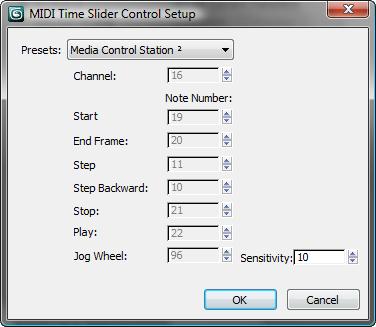 3ds Max 2017 Help: MIDI Time Slider Control Setup Dialog