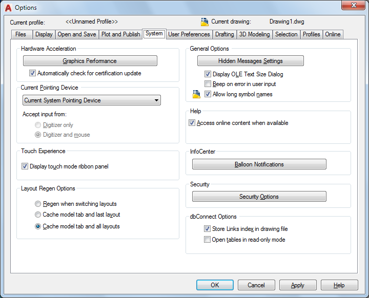 System Tab Options Dialog Box Autocad Autodesk Knowledge Network