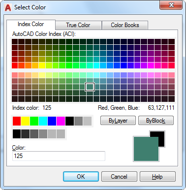 Select Color Dialog Box | AutoCAD | Autodesk Knowledge Network