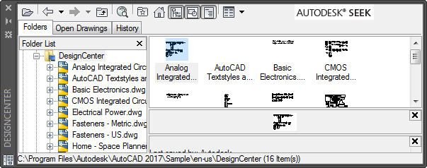 use the buttons in the toolbar at the top of designcenter for display and access options autodesk seek is a button that opens your browser to the autodesk