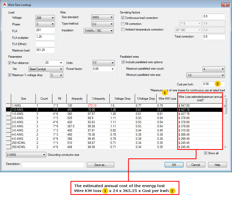 Wire Size Lookup Dialog Box | AutoCAD Electrical | Autodesk ...