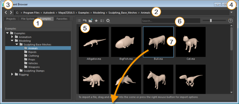Find and import files from the Content Browser | Maya LT