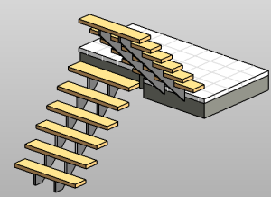 Assembled Stair: Steel Run And Monolithic Landing (non Monolithic Run And  Monolithic Landing)