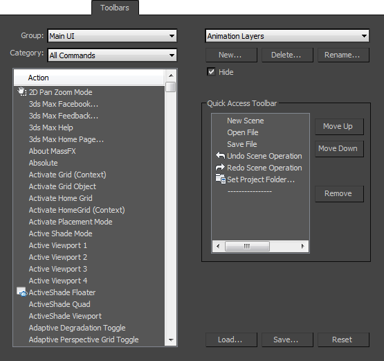 Toolbars Panel | 3ds Max 2018 | Autodesk Knowledge Network