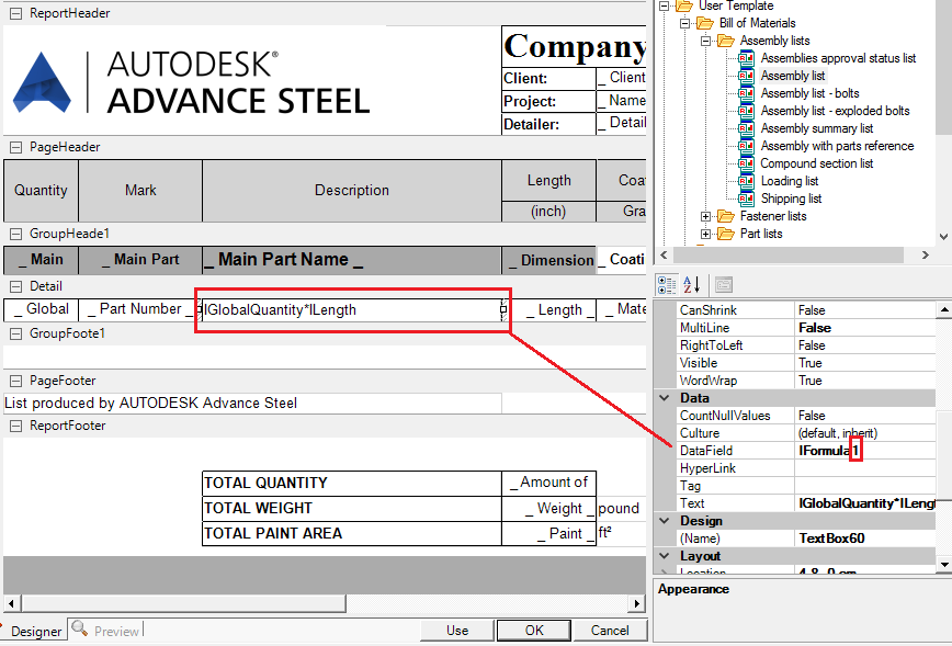 Formulas in External Bills of Material | Advance Steel | Autodesk ...
