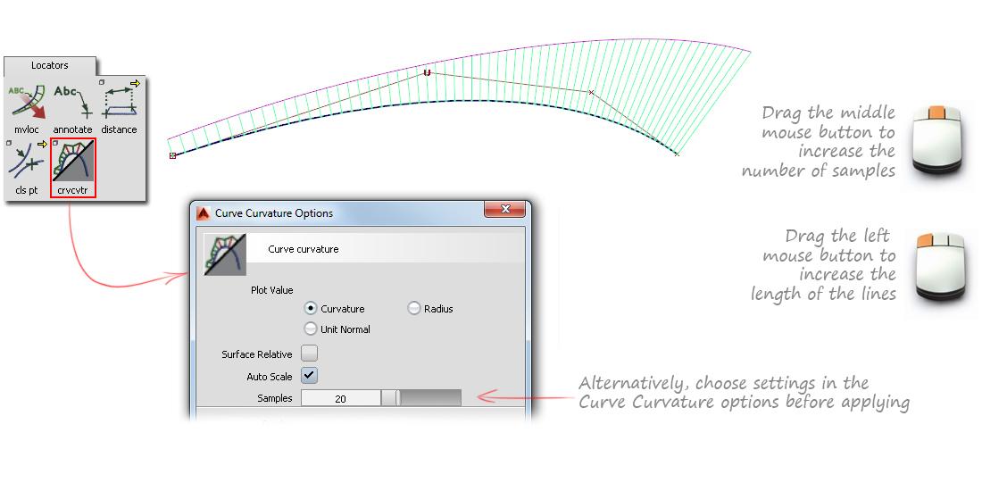 Evaluation 1: Curve Curvature | Alias Products 2018 | Autodesk
