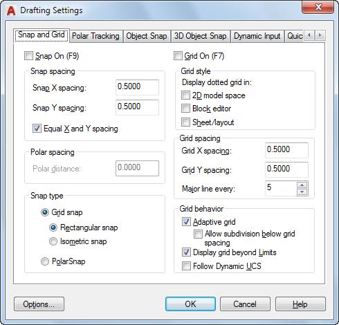 snap and grid tab drafting settings dialog box autocad 2018