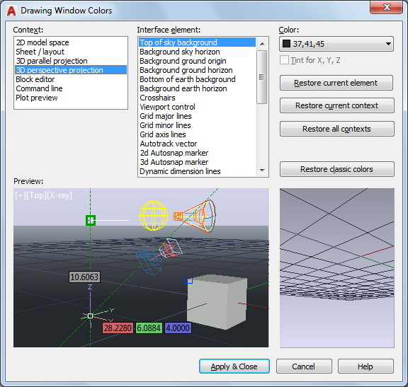 Drawing Window Colors Dialog Box   AutoCAD 2018   Autodesk