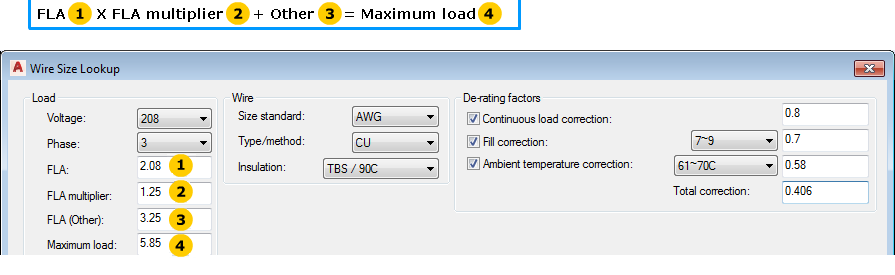 Wire size lookup dialog box autocad electrical autodesk note controls are disabled if the values are predefined on the circuit configuration dialog greentooth Choice Image