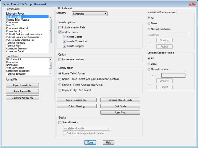 Report Format File Setup Dialog Box | AutoCAD Electrical 2018