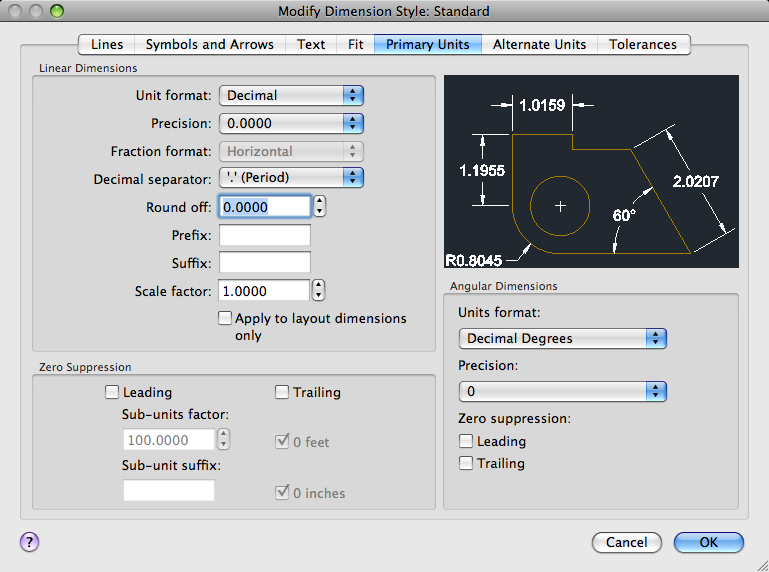 Primary Units Tab Dimension Style Manager Autocad For Mac