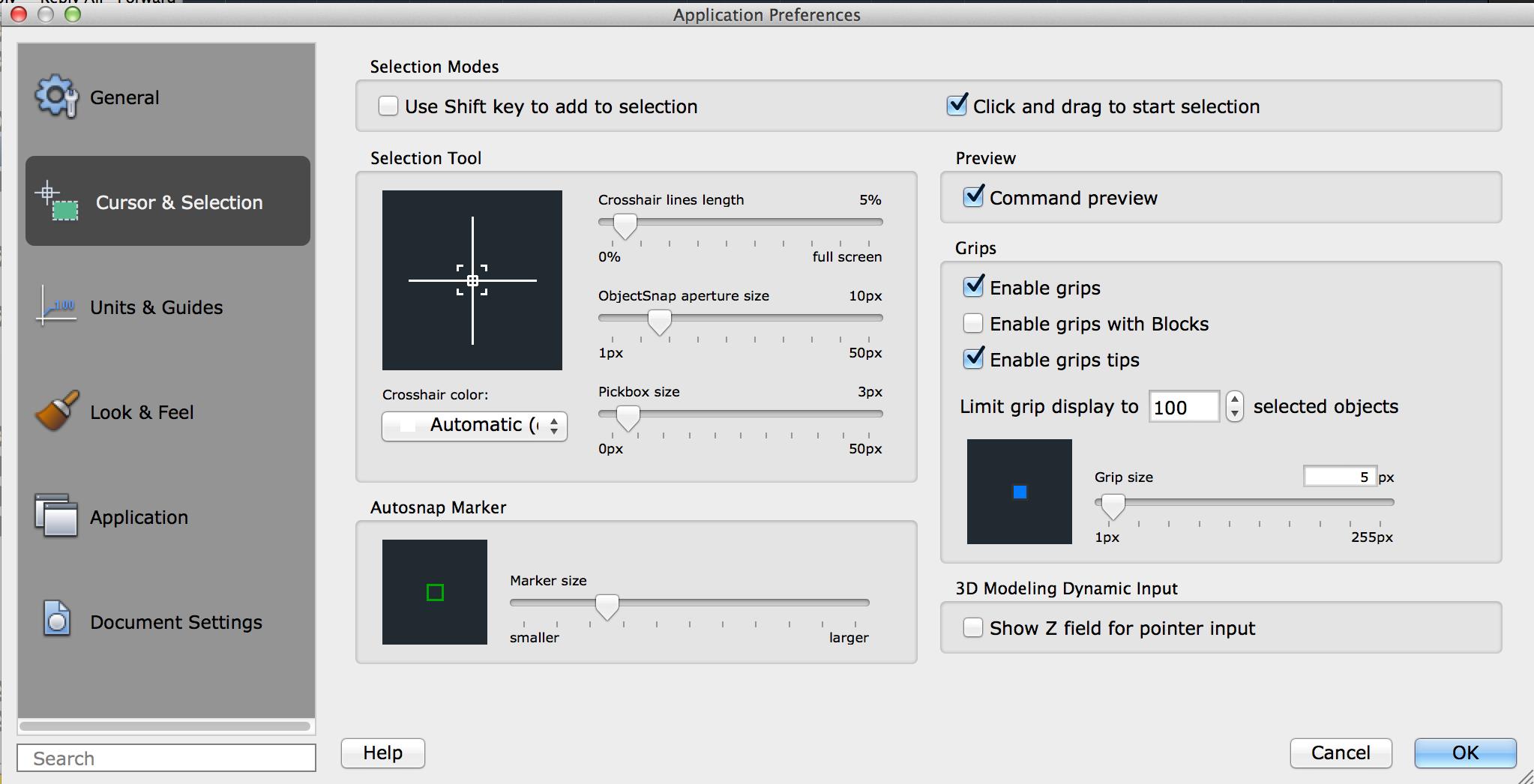 Cursor & Selection Tab (Application Preferences Dialog Box
