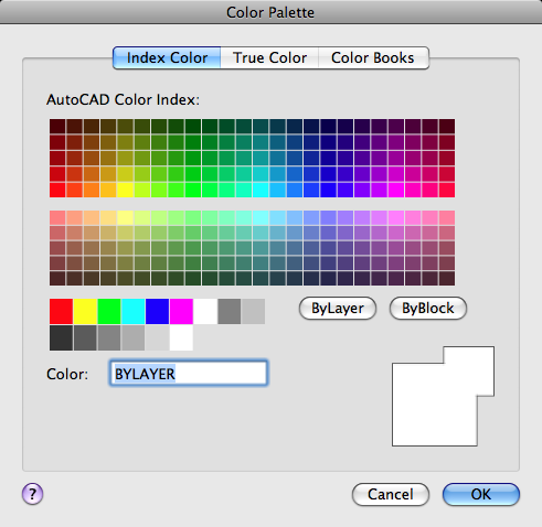 Index Color Tab Palette Dialog Box