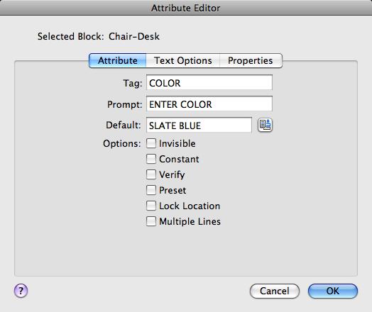 Attribute Editor Dialog Box   AutoCAD for Mac 2018   Autodesk
