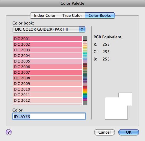 Color Books Tab (Color Palette Dialog Box) | AutoCAD for Mac ...