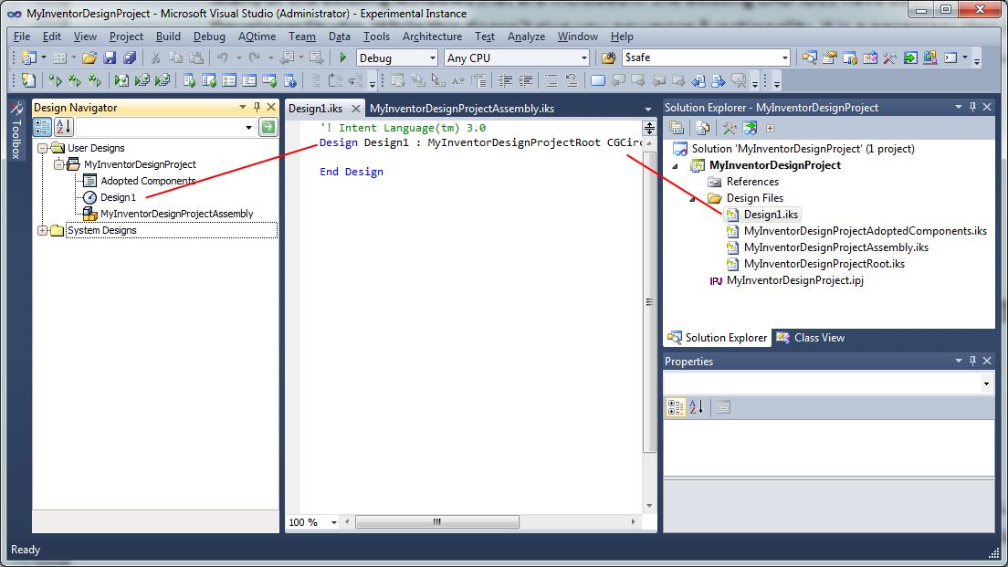 Inventor ETO 2018 Help: CAD IDE Elements in Visual Studio