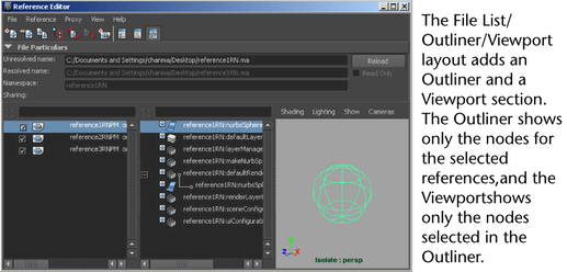 Maya Help: Reference Editor Layouts