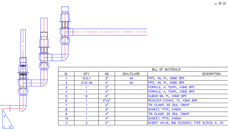 orthographic drawings are supported and are commonly the primary  documentation  especially for valve groups (skids)