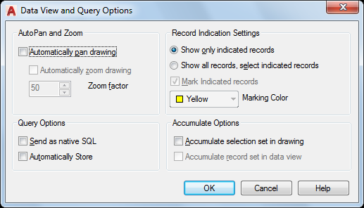 Data View and Query Options Dialog Box (Data View Window