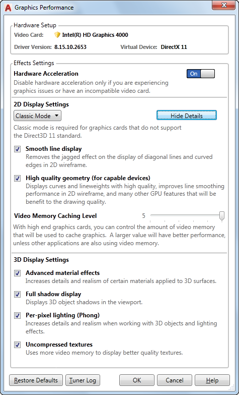 Graphics Performance Dialog Box | AutoCAD 2019 | Autodesk