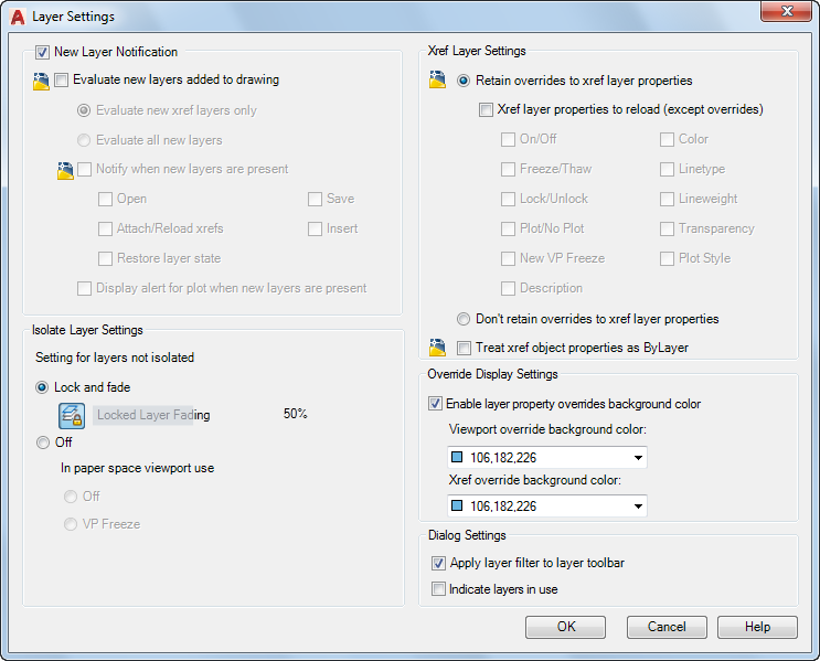 Layer Settings Dialog Box (Layer Properties Manager