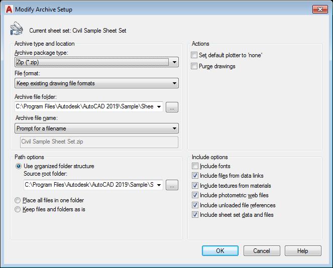 Modify Archive Setup Dialog Box | AutoCAD 2019 | Autodesk