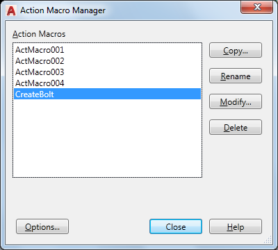 Action Macro Manager   AutoCAD 2019   Autodesk Knowledge Network