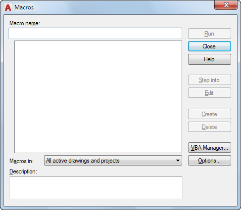 Macros Dialog Box   AutoCAD 2019   Autodesk Knowledge Network
