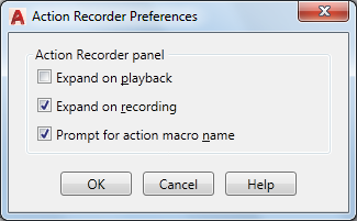 Action Recorder Preferences Dialog Box | AutoCAD 2019